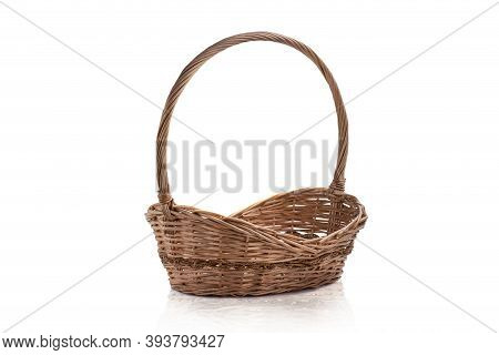 Empty Wicker Basket Isolated With Copy Space Isolated On White Background