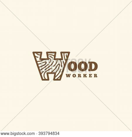 Logo Design Template With Stylized Letter W For Wood Shop, Carpentry, Woodworkers, Wood Working Indu
