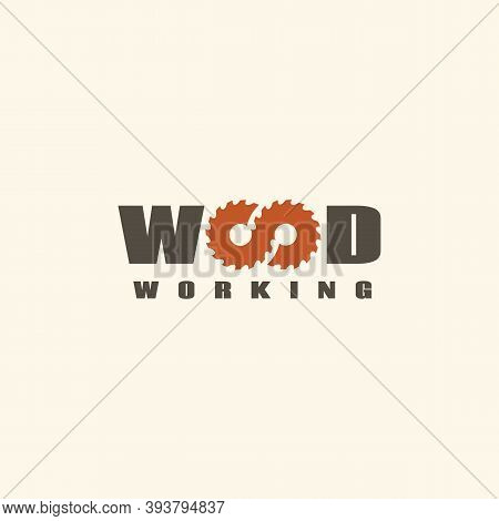 Wood Logo Design Template With Two Stylized Letters O For Wood Shop, Carpentry, Sawmill, Lumberjack