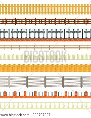 Varieties Of Fences Set. Long Wood And Welded Iron Beams Wire Mesh Panels Openwork Casting With Hear