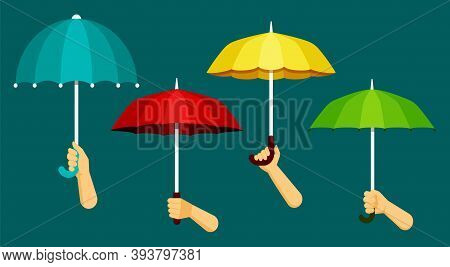 Hands Hold Umbrellas. Protection From Rain And Bad Red Climate Rescue From Green Wet Meteorological