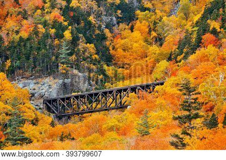 Colorful Autumn foliage and railway bridge in White Mountain, New Hampshire.