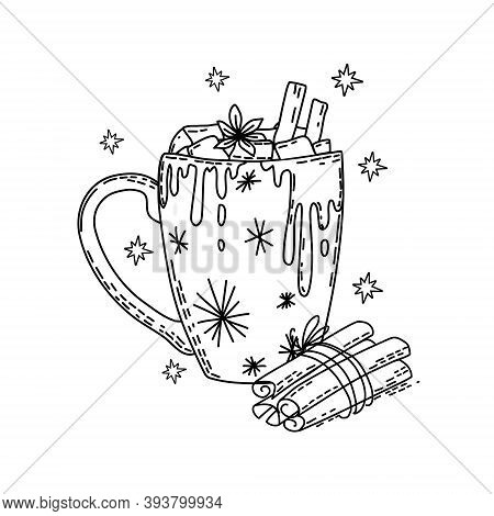 Winter Drink With Marshmallow And Cinnamon. Coloring Book. Vector.