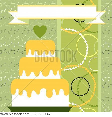 Design Template For Cute Wedding Invitation Card. Template For Scrapbooking With Hand Drawn Doodle P
