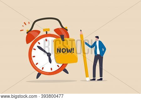 Stop Procrastination, Do It Now Or Decision To Finish Work Or Appointment In Time Concept, Confidenc