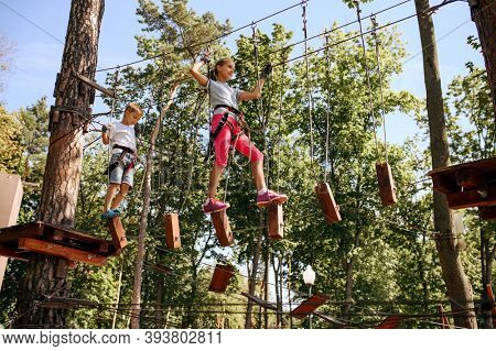 Brave kids climbs in rope park, playground