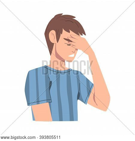 Embarrassed Man Covering His Face With Hand Cartoon, Person Admitting His Guilt Style Vector Illustr