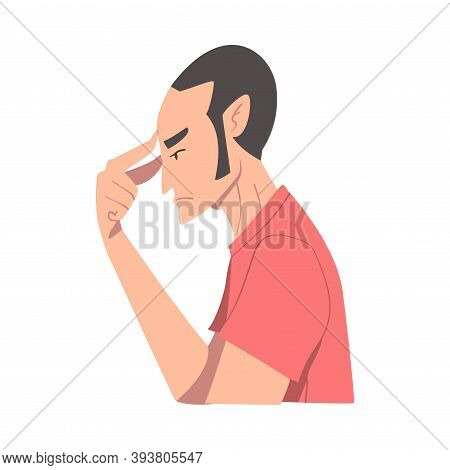 Embarrassed Man Covering His Face With Hand, Regretful Person Sorry, Apologizing And Admitting His G