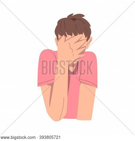 Embarrassed Man Covering His Face With Hand, Regretful Person Sorry, Apologizing And Admitting Her G