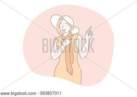 Gesture, Pointing, Advertisement, Putting Attention Concept. Young Smiling Woman Cartoon Character I