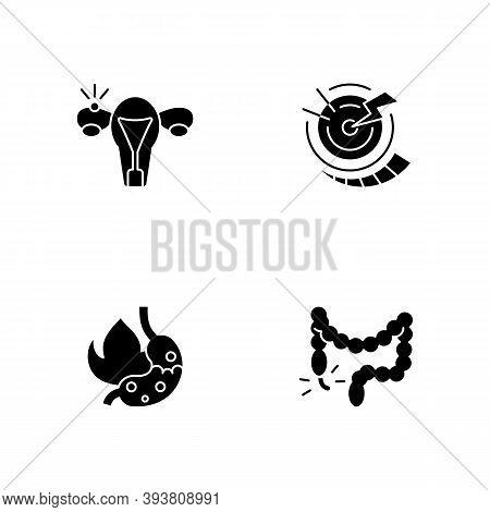 Abdominal Inflammation Black Glyph Icons Set On White Space. Ectopic Pregnancy. Acute Pain. Heartbur