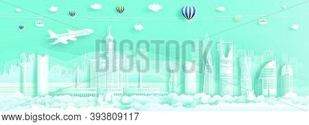 Travel To Saudi Arabia Landmark Middle East Famous City Of Asia On Turquoise Background By Airplane