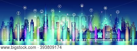 Technology Wireless Network Communication Smart City And Icon Network Technology In United Arab Emir