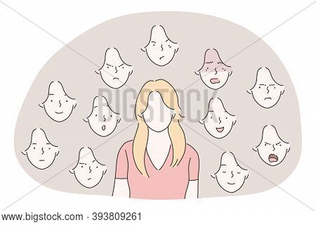 Variety Of Emotions And Facial Expressions Concept. Young Woman Cartoon Character With Blank Face An