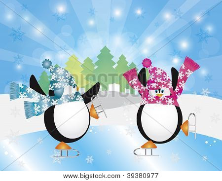 Christmas Penguins Pair Figure Ice Skating in Ice Rink Winter Scene with Trees Snowflakes and Sun Rays Background Illustration poster