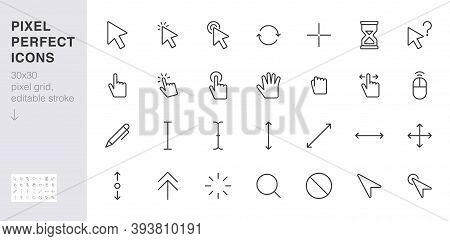 Cursor Line Icon Set. Mouse Click, Hand Tap, Arrow Pointer, Type Here, Scroll, Hourglass, Finger Min