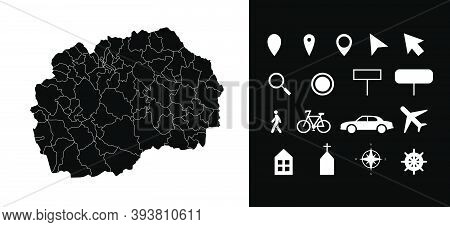 Map Of Macedonia Administrative Regions Departments With Icons. Map Location Pin, Arrow, Looking Gla