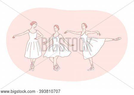 Ballerina, Ballet, Dance Performance In Theatre Concept. Young Woman Ballerina Cartoon Character In