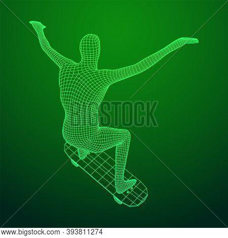 Skater Doing Jumping Trick On Skateboard. Wireframe Low Poly Mesh Vector Illustration.