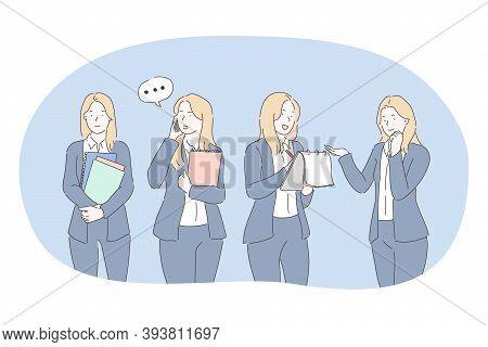 Office Worker, Business Woman, Secretary Concept. Young Woman Office Worker In Official Clothing Car
