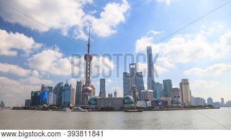 Shanghai, China - November 5, 2019 :Cityscape of Central district of Shanghai and financial hub of China is located on the banks of Huangpu river