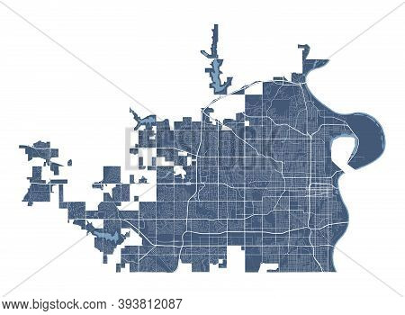 Omaha Map. Detailed Vector Map Of Omaha City Administrative Area. Cityscape Poster Metropolitan Aria
