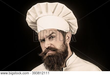 Cook Hat. Portrait Of A Serious Chef Cook. Bearded Chef, Cooks Or Baker. Bearded Male Chefs Isolated