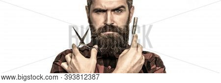 Mustache Men. Beard Macho Man. Bearded Man, Bearded Male. Portrait Beard Man. Barber Scissors And St