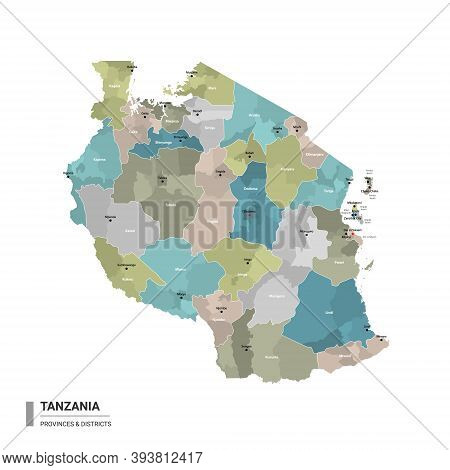 Tanzania Higt Detailed Map With Subdivisions. Administrative Map Of Tanzania With Districts And Citi