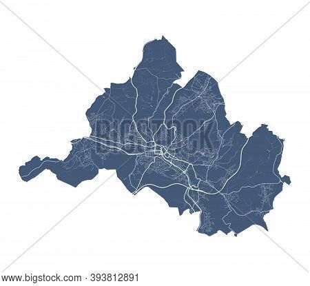 Saarbrucken Map. Detailed Vector Map Of Saarbrucken City Administrative Area. Cityscape Poster Metro