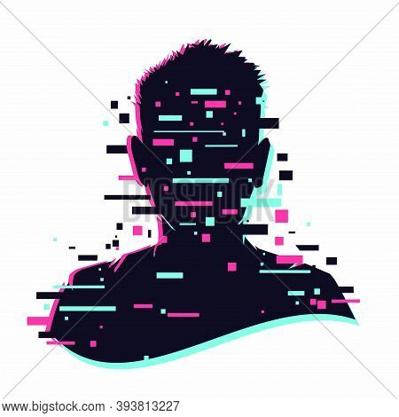 Anonymous Vector Icon. Incognito Sign. Privacy Concept. Human Head With Glitch Face. Personal Data S