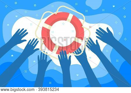 Concept Of Help. Helping Business Survive. Hands Catch A Lifebuoy. Getting Lifebuoy For Help, Suppor