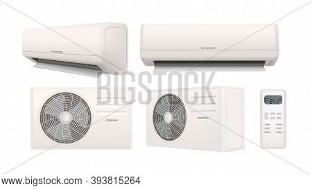 Air Conditioner 3d Vector Illustration In Realistic Style. Air Condition Split System Set Isolated O