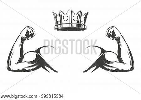 Arm, Bicep, Strong Hand And Crown Icon Cartoon Symbol Hand Drawn Vector Illustration Sketch