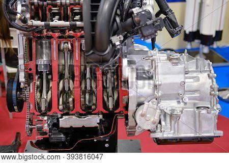 Four Cylinder Modern Gasoline Internal Combustion Engine, Lifestyle Background