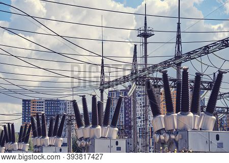 Electrical Station With Power Transformers And Measuring Elements. Outdoor Power Plant.