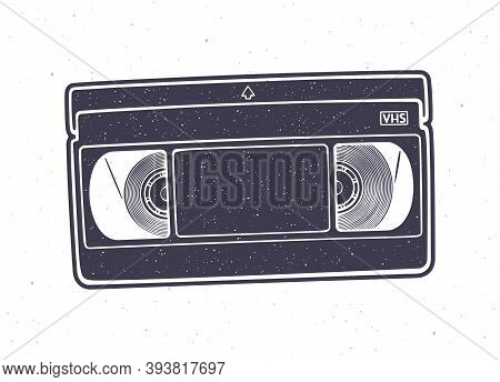 Silhouette Of Vhs Cassette. Vector Illustration. Video Tape Record System. Retro Storage Of Analog I