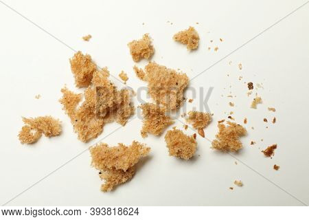 Fresh Bread Crumbs On White Background, Close Up