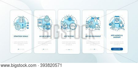 Mobile App Development Process Onboarding Mobile App Page Screen With Concepts. App Testing Process