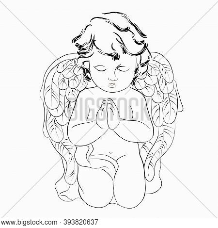 Vector Linear Illustration Of A Praying Cute Angel. Isolated Image Of A Vintage Angel.