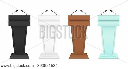 Podium For Debate. Rostrum Of Conference. Pulpit For Speech. Tribune With Microphone For Speaker. Gl