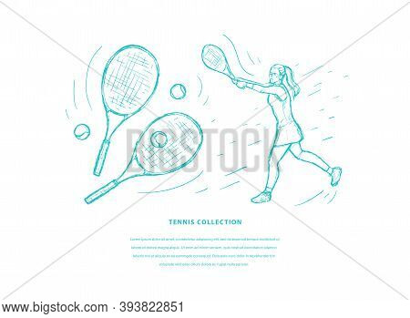 Tennis Sketch Hand Drawn Vector Template. Woman Tennis Player With Racquet On White Background. Spor