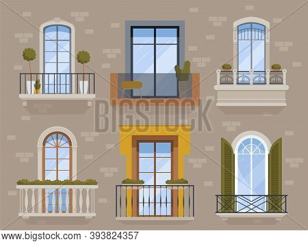 Balcony. Modern Facade Exterior Architectural Objects Building Arch Balcony With Flower Pots Apartam