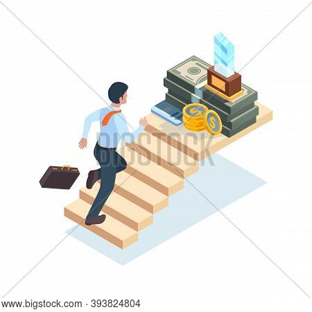 Businessman On Stairs. Man Ladder Running Walking Steps On Stairs To Success And Victory Vector Isom