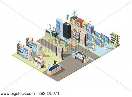 Retail Electronics Market. Isometric Shop Interior With Appliances Hardware Tablets Pc Electrical Te