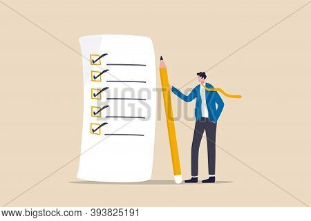Checklist For Work Completion, Review Plan, Business Strategy Or Todo List For Responsibility And Ac