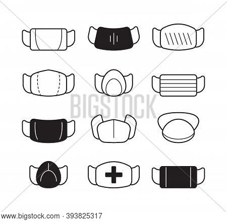 Face Mask Icon. Surgical Doctor Clothes Flu Or Pollution Protection Illness Moisture Vector Collecti