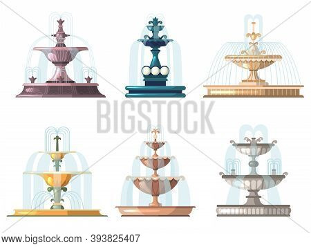 Cartoon Fountains. Outdoor Gardening Decorative Symbols Nature Water Fountains Vector Collection. Pa