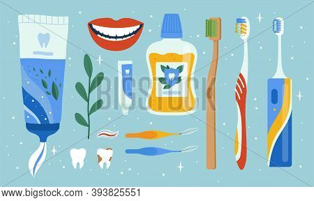 Dentist Accessories. Oral Dental Hygiene Items Mouth Brush Apples Cleaning Tools Teeth Vector Set. M