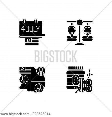United States Black Glyph Icons Set On White Space. Independence Day. Equality. Electoral College. P